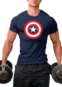 Men Round Neck Printed Short Sleeves Sports T-shirt