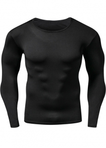 Quick-Dry Round Neck Long Sleeve Fitness T-Shirt