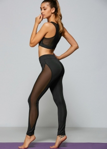 Casual See-Through Yarn Patch Sport Bra+Pants