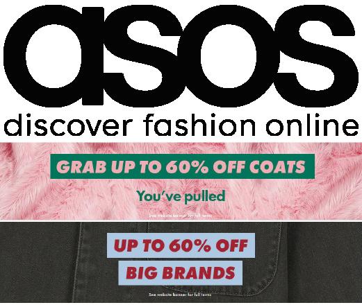 עד 60% הנחה על מותגים נבחרים בASOS! לגברים ולנשים