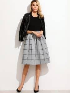חצאית משובצת אפורה 91 שח צנועה זול זוזו דילס
