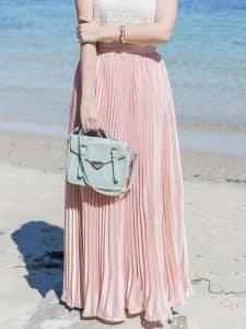 חצאית פליסה ורודה ארוכה צנועה זול זוזו דילס