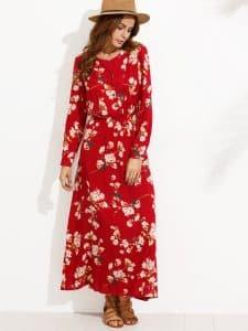 שמלה אדומה צנועה ארוכה זול זוזו דילס