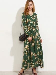 שמלה צנועה ירוקה פרחונית זול זוזו דילס