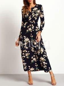 שמלה צנועה שחורה פרוחנית זול זוזו דילס