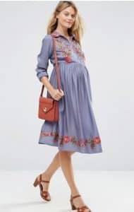 שמלה רקומה צנועה להריון אסוס מבצע זוזו דילס