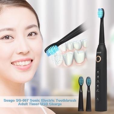 Seago SG-507 – מברשת שיניים חשמלית נטענת – 5 מצבי הפעלה + 2 ראשים להחלפה – ב-11.99 $ !