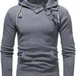 Male Side Button Solid Color Hoodie