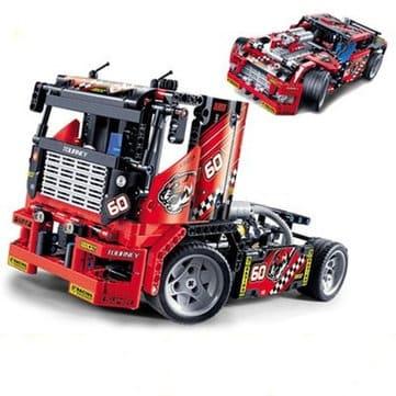 "Decool 3360 – דגם מודולרי להרבה – מכונית/משאית מירוץ עם  608 חלקים! רק ב79 ש""ח!"