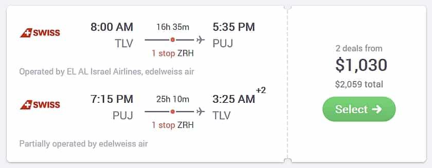 טיסה זהה SWISS