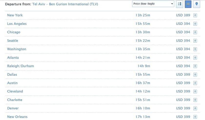 רשימת יעדים KLM ו-AF בצפון אמריקה