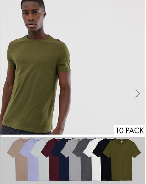 מארז 10 חולצות ASOS DESIGN לגבר ב₪185 בלבד!! משלוח חינם!