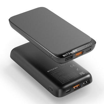 """סוללת גיבוי – BlitzWolf® BW-P10 10000mAh QC3.0 PD18W – עם טעינה אלחוטית משולבת – רק ב78 ש""""ח!"""