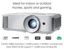 """מקרן איכותי Optoma HD27E במחיר מטורף, רק 1,800 ש""""ח במקום 3,400 ש""""ח בארץ!"""