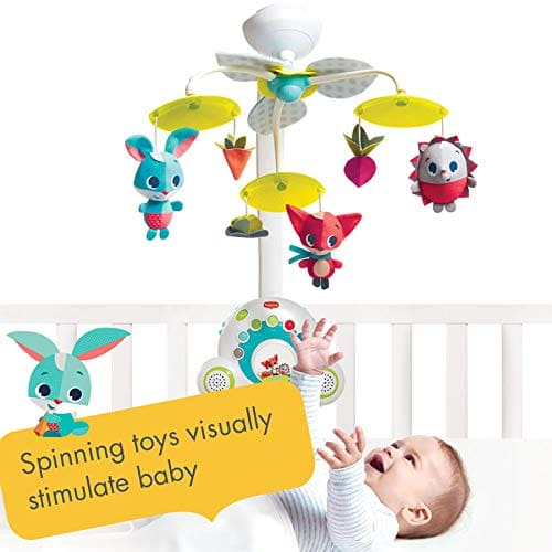 Tiny Love Soothe 'n Groove Mobile, Musical Cot Mobile Suitable from Birth, 0+ Months, 18 Melodies, Meadow Days