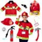 Born Toys 8 PC Premium Washable Kids Fireman Costume Toy for Kids,Boys,Girls,Toddlers, and Children with Complete Firefighter Accessories