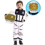 Children's Astronaut Space Costume Space Pretend Dress Up Role Play Set for Kids Cosplay Ages 3-7 White