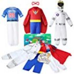 Jeowoqao Boys' Dress up Trunk Costumes Set, Kids Role Play Set, Superhero, Astronaut, Footballer Costume for Children Ages 3-6