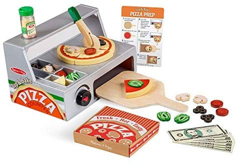 Top and Bake | Melissa & Doug: דוכן פיצה מעץ (34 חלקים) ב₪125 בלבד! במקום ₪249