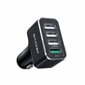 BlitzWolf® BW-SD3 50W – מטען הרכב הכי מומלץ! עם 4 פורטים וQC + כבל USB-C עם מתאם מיקרו USB במתנה רק ב$8.89