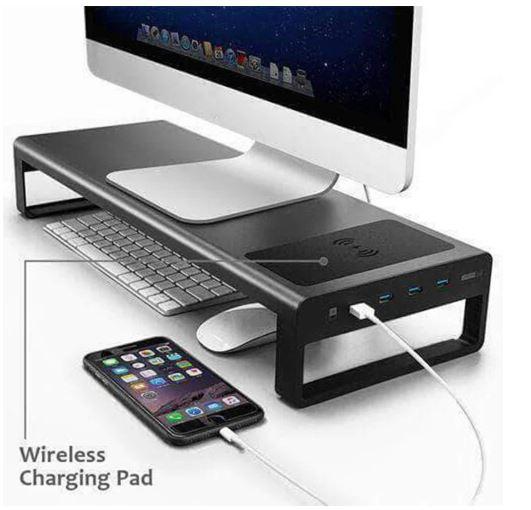 פנו מקום על השולחן עם מעמד למסך המחשב עם חיבורי USB וטעינה אלחוטית!