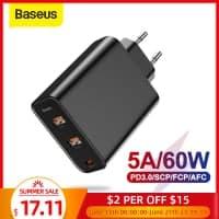 מטען BASEUS עם תמיכה בQC4.0, 60W, PD  ו3 פורטים כולל USB-C רק ב $17.15!