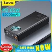 Baseus 65W Power Bank 30000mAh PD – מטען נייד / סוללת גיבוי ענקית! עם טעינה מהירה (כולל הטענת מחשבים וטאבלטים!) רק ב$39.27