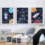 US $1.73 46% OFF Astronaut Poster Space Rocket Baby Nursery Wall Art Canvas Poster Scandinavian Print Painting Kids Room Decorative Picture Painting & Calligraphy 