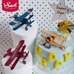US $2.05 11% OFF Red Blue Yellow Retro Airplane Cake Decorations Birthday Party Decorations for Baking Cute Gifts Cake Decorating Supplies 