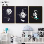 US $2.3 52% OFF HAOCHU Space Scene Moon Decoration Picture Black Canvas Painting Rocket Wall Art Poster Boy Bedroom Living Room Home Decoration Painting & Calligraphy 