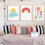 US $2.32 42% OFF Cute Canvas Painting Weather Sun Rainbow Print Quote Poster Nursery Wall Art Children Bedroom Decorative Pictures Unisex Decor Painting & Calligraphy 