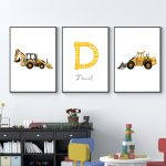 US $2.43 53% OFF Personalized Boy's Name Custom Poster Baby Dump Truck Excavator Canvas Painting Nursery Prints Wall Pictures For Kids Room Painting & Calligraphy 