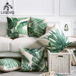 US $2.75 43% OFF Tropical Green Plant Palm Leaf Leaves Monstera Printed Pillow Cushion Cover For Sofa Car Home Almofadas 45x45cm Cushion Cover 