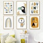US $2.83 50% OFF The Alphabet Rainbow Gate Lion Bird Wall Art Canvas Painting Nordic Posters And Prints Cartoon Wall Pictures For Kids Room Decor Painting & Calligraphy 