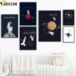 US $2.87 54% OFF Cartoon Planet Star Rocket Spaceman Space Travel Wall Art Canvas Painting Nordic Posters And Prints Wall Picture Kids Room Decor nordic poster posters and printscanvas painting
