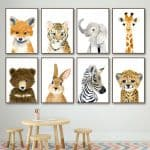 US $2.97 46% OFF Elephant Zebra Fox Rabbit Bear Owl Giraffe Wall Art Canvas Painting Nordic Posters And Prints Wall Pictures Baby Kids Room Decor Painting & Calligraphy 