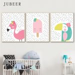 US $2.99 50% OFF Scandinavian Style Poster Toucandots Flamingodots Cute Animal Wall Art Canvas Painting for Baby Room Kids Bedroom Children Decor Painting & Calligraphy 