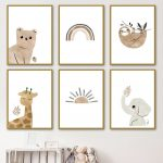 US $3.01 47% OFF Nordic Posters And Prints Bear Elephant Giraffe Sloth Sun Rainbow Wall Art Canvas Painting Cartoon Wall Pictures Kids Room Decor Painting & Calligraphy 
