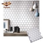 US $3.52 44% OFF Hexagon Off White Vinyl Sticker Self Adhesive Wallpaper 3D Peel and Stick Square Wall Tiles for Kitchen and Bathroom Backsplash Wall Stickers 