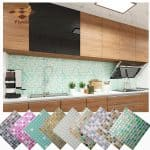 US $4.39  Mosaic Wall Tile Peel and Stick Self adhesive Backsplash DIY Kitchen Bathroom Home Wall Sticker Vinyl 3D Wall Stickers 