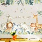 US $6.76 33% OFF Cartoon Wall Stickers for Kids Rooms Giraffe Lion Fox Elephant Animal Home Decals Nursery Kindergarten Baby Room Home Decor Wall Stickers 