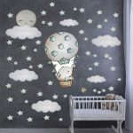 US $8.11 47% OFF Large Size 100cmx100cm Wall Stickers Cute Baby Elephant on the Hot Air Balloon Wall Decals Watercolor Stars for Baby Nursery Wall Stickers 