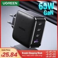 מטען מהיר וחזק ממותג מעולה במחיר נדיר! עם 4 פורטים ותמיכה בטעינה מהירה USB-C PD Ugreen 65W GaN ו-Quick Charge 4.0! רק ב$20.84!