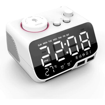 Uplift Alarm Clock Radio – שעון מעורר עם רמקול בלוטות', מטעני USB, השכמה כפולה, רדיו, טמפרטורה ועוד ב$27.99