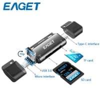 EAGET EZ08 – קורא כרטיסי זיכרון עם כל החיבורים שצריך! USB-C, USB, מיקרו USB, מיקרו SD, SD….רק ב$4.98!