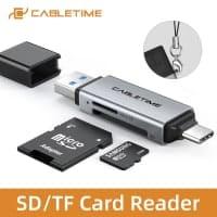 תמיד שימושי! קורא כרטיסים CABLETIME עם חיבור USB וUSB-C רק ב6.59$!
