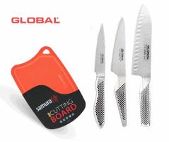מחיר שלא יחזור! סט 3 סכינים מבית Global (סכין שף סנטוקו, סכין עזר, סכין קילוף) רק ב₪679! + קרש חיתוך מבית Samura במתנה!