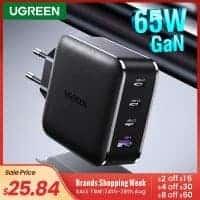 מטען מהיר וחזק ממותג מעולה במחיר נדיר! עם 4 פורטים ותמיכה בטעינה מהירה USB-C PD Ugreen 65W GaN ו-Quick Charge 4.0! רק ב18.59$