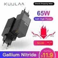 KUULAA GaN 65W – מטען מהיר חזק וקומפקטי עם 2 פורטים כולל טעינה מהירה USB-C PD וQC4.0 והטענת מחשבים ניידים רק ב$15.36! רק 16.36 עם כבל 100W!