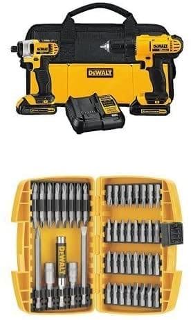 סט קומבו DEWALT DCK240C2 20v – מברגה/מקדחה ומברגת אימפקט + סוללות, מטען, תיק וסט ביטים רק ב₪790!